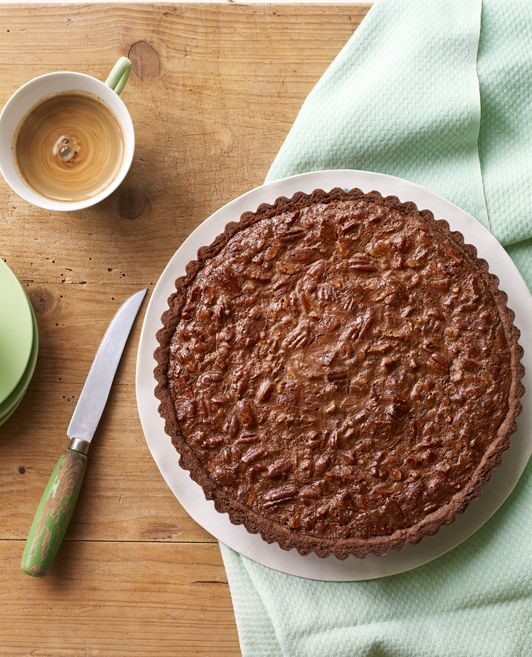 Impress the chocoholic in your life with chocolate shortcrust pastry filled with a rich chocolate and pecan filling.