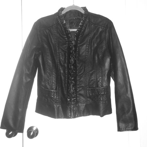 Beautiful warm faux leather jacket. Black and gold tone faux leather jacket. It's in perfect shape. Stylish detail with purposeful functionality. Jackets & Coats