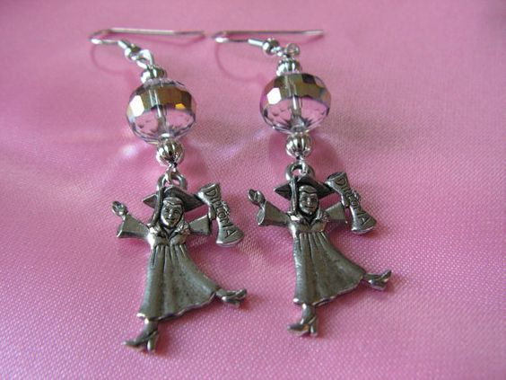 Graduation Earrings with Crystal Beads and Graduating Girl with Cap, Diploma, and Gown Charms by AngsDivineDesigns - $5.25