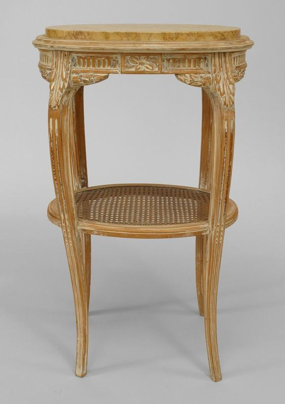 French Louis XV table end table bleached