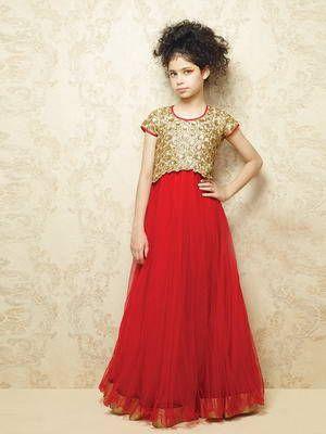 Rojo con oro vestido largo en el suelo, con mangas cortas, para niñas de 2 a 12 años