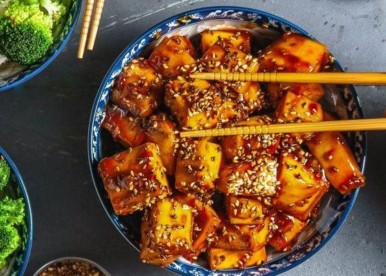 Sticky Orange Sesame Tofu [Vegan]