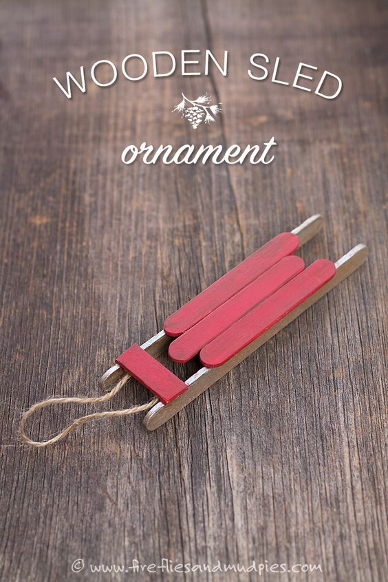 Wooden Sled Ornament | Fireflies and Mud Pies Would be cute with chocolates wrapped as gifts.
