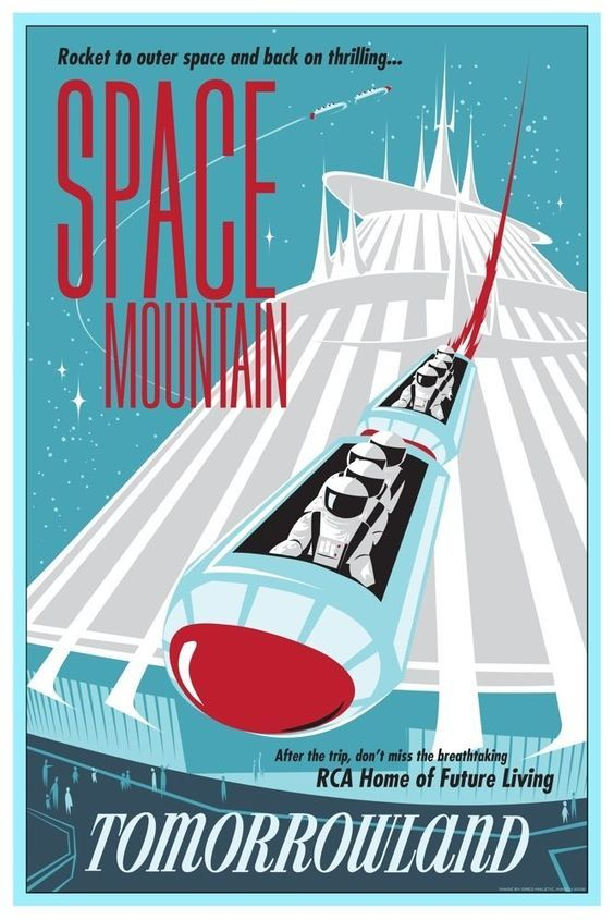B2G1F Vintage Disney Collector/'s Poster Print Tomorrowland Space Mountain