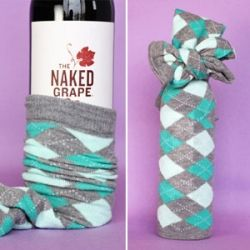 Something everyone could use- a new pair of socks & a bottle of wine:)
