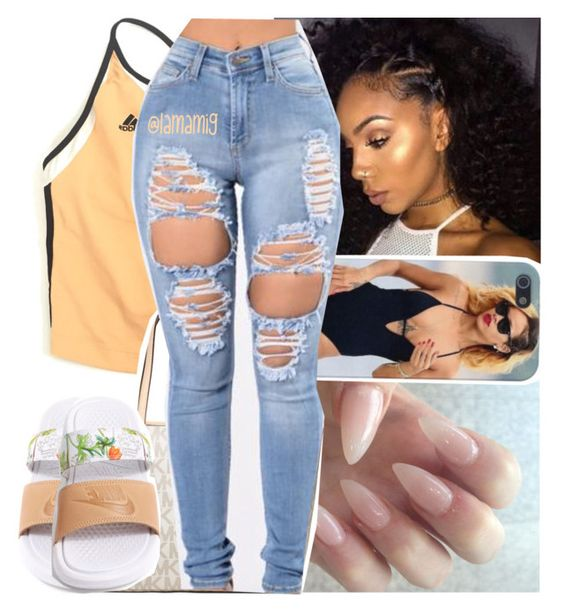 """""""in your darkest hours, i'll help light your way"""" by lamamig ❤ liked on Polyvore featuring adidas, MICHAEL Michael Kors and NIKE"""