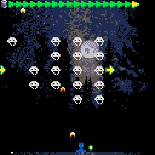 Pico8 Invaders With Forest Landscape Pixel Art Smoke Animation Space Invaders