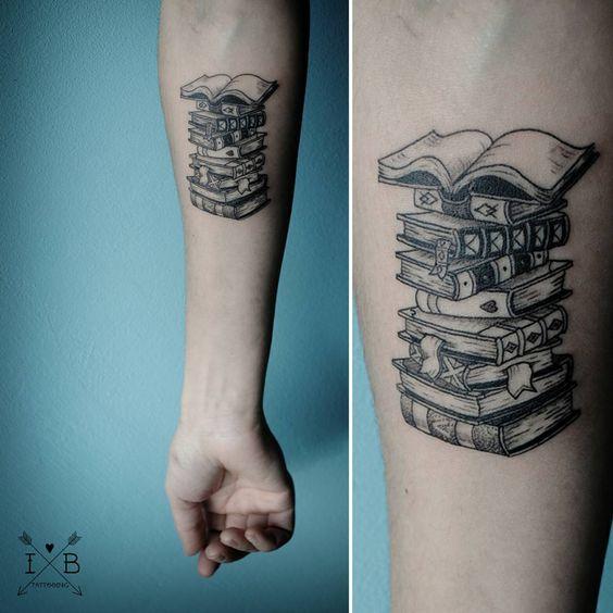 Books stack tattoo by irene bogachuk #IB_TATTOOING