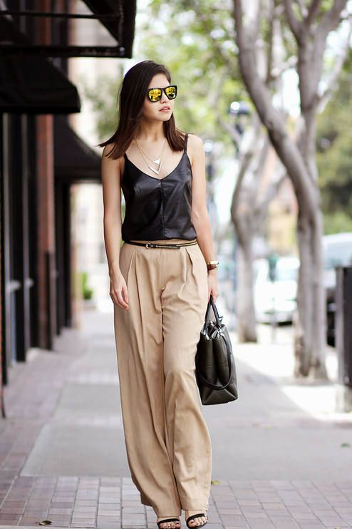 Catrina Light Brown Wide Leg Trousers Fashion Photos