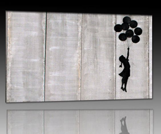 details zu bild auf leinwand banksy graffiti. Black Bedroom Furniture Sets. Home Design Ideas
