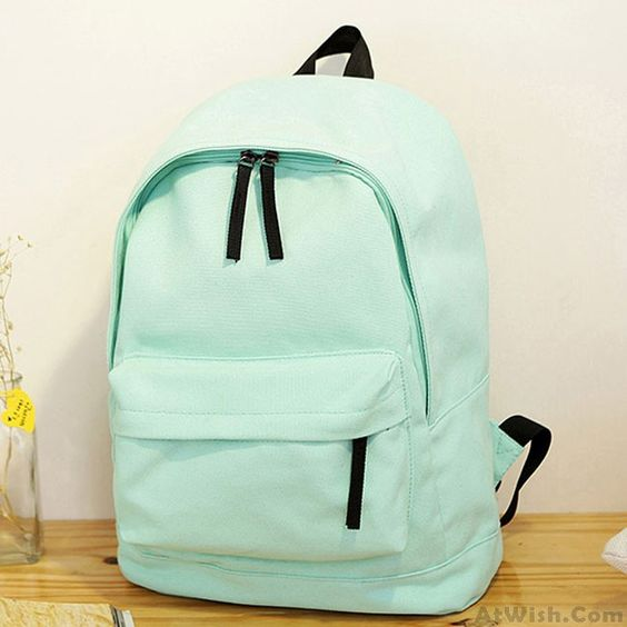 Wow~ Awesome Fresh Pure Color Solid Rucksack School Bag For Girl Canvas Backpacks  ! It only $28.99 at www.AtWish.com! I like it so much<3<3!