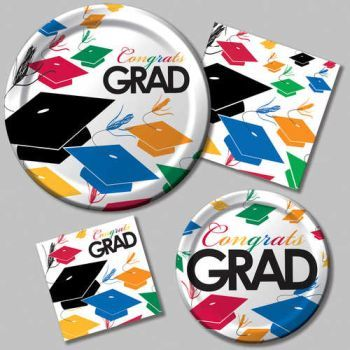 graduation paper plates and napkins Graduation party supplies at 50-75% off retail check our school spirit tableware at party and paper warehouse available in eight school colors, school spirit.