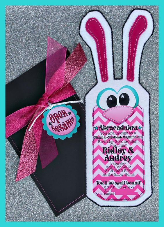 Adorable Invitation at a Girly Magic Party with Lots of Cute Ideas via Kara's Party Ideas | KarasPartyIdeas.com #Magic #GirlParty #PartyIdeas #PartySupplies #invitation