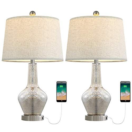 Oyears Usb Modern Table Lamps Set Of 2 Mercury Glass Table Lamps For Living Room Bedroom Bedside Tab Mercury Glass Table Lamp Modern Table Lamp Table Lamp Sets
