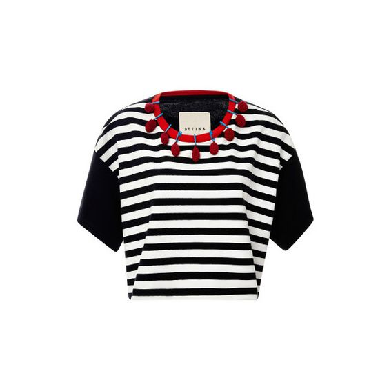 Betina Igorot Cropped Embellished Striped Top (€140) ❤ liked on Polyvore featuring tops, crop top, shirts., stripe shirt, black crop top, black top, black shirt and striped shirt