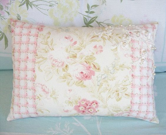 Pink an White Pastel Pink Rose Shabby Chic Decorative Pillow My Dream Home Pinterest ...