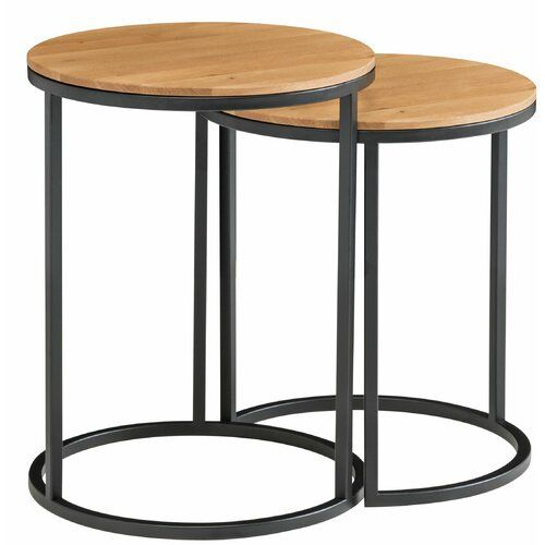 Hiroko Side Table Mercury Row Tabletop Colour Beech Heartwood Cube Side Table Table Round Side Table