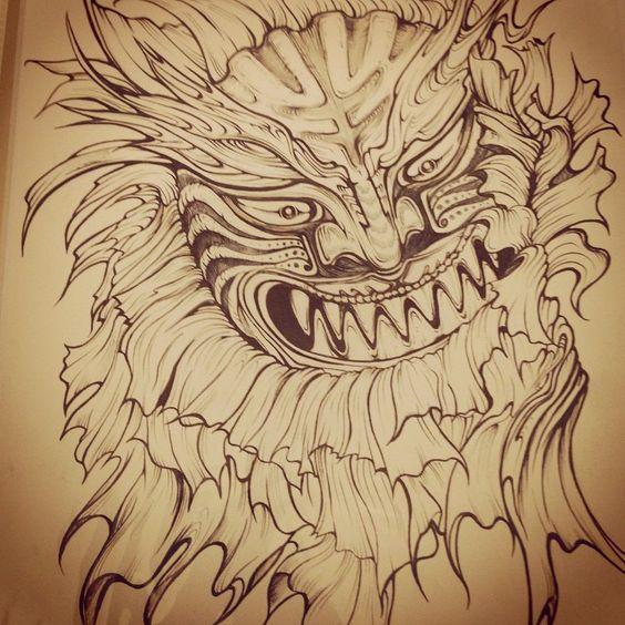 사자탈 타투 디자인 korea lion mask tattoo design by teo