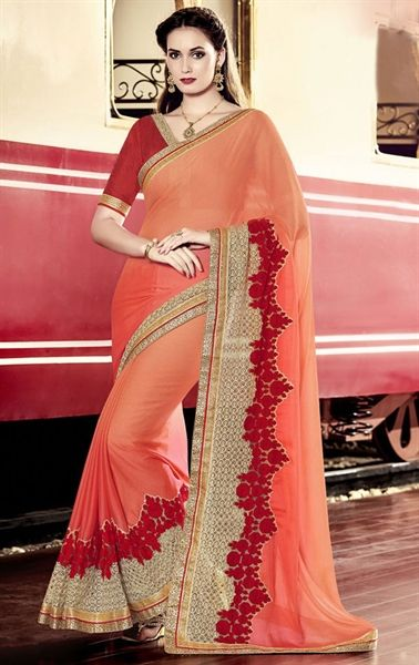Picture of Fabulous Coral Latest Saree Online
