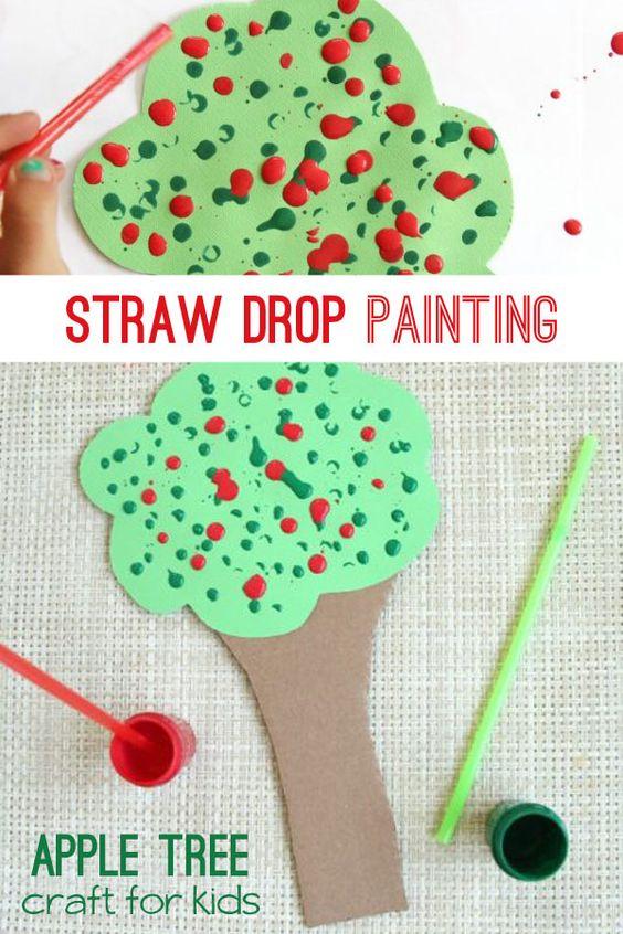 Create a straw drop painting apple tree craft to work on fine motor skills. via…