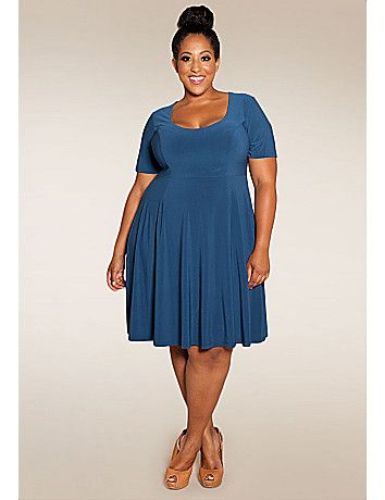 Lola has endless styling possibilities! A playful, trendy skater-style plus size dress that is virtually season less in great new colors. One dress you will wear again and again and again. sonsi.com