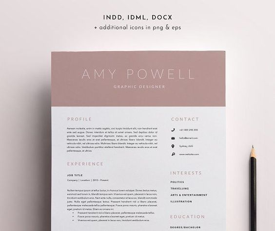 3 Page Resume Template INDD + DOCX by BlackDotResumes on - resume docx