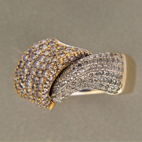 Vintage BJC Swirl Design Solid 18k White & Yellow Gold Yellow White Diamond Ring