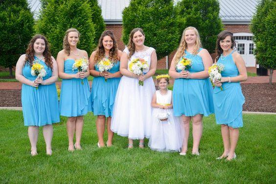 bride and bridesmaids malibu blue yellow coral davids bridal