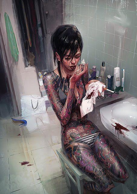 3d sexy women wiht yakuza tattoo sexy art for Female yakuza tattoo