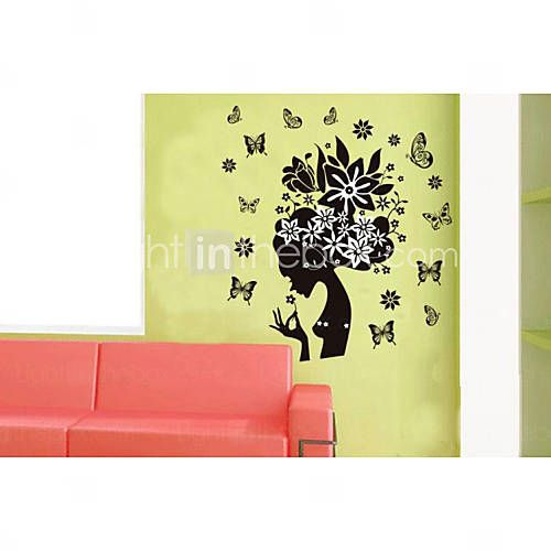 Cl sicas pegatinas de hadas flor negras para habitaciones for Pegatinas para habitaciones