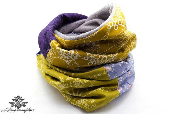 Patchwork-Schal gelb, lila - ein kuschelig warmes Lieblingsstück aus der #Lieblingsmanufaktur