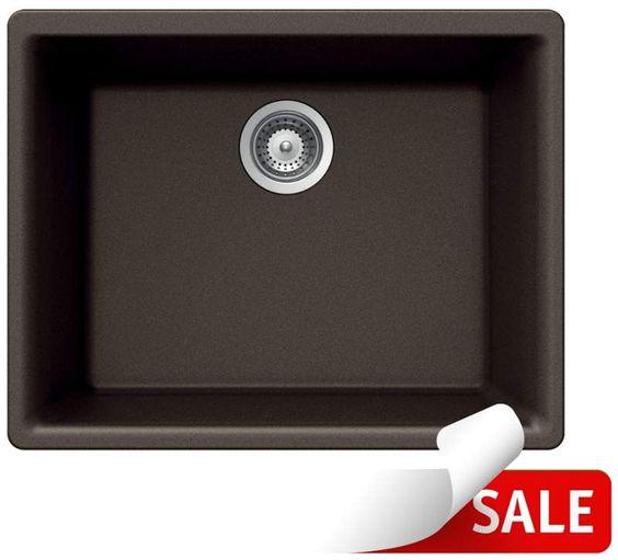 "Houzer G-100U Quartztone 24"" Undermount Single Basin Granite Composite Kitchen S"