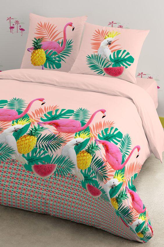 Vendita Future Home / 25110 / Camera da letto / Natura / Parure Copripiumone Flamingo Rosa e Verde