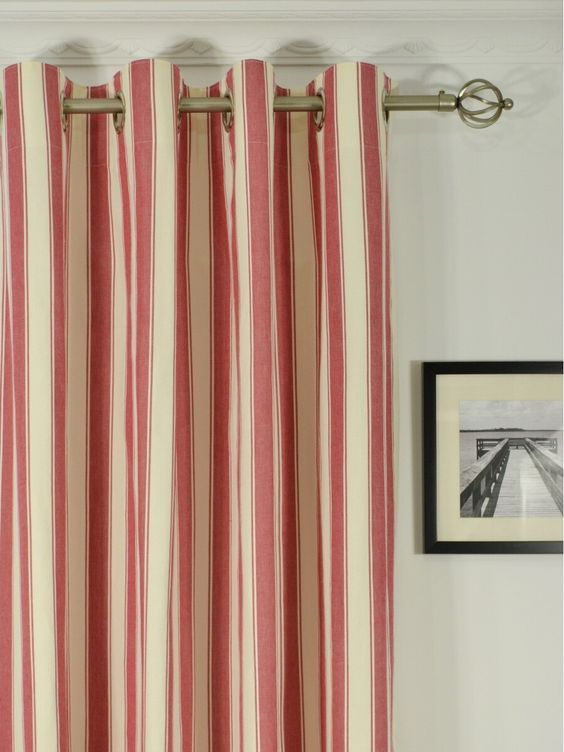 Curtains Ideas 120 inch length curtains : Moonbay Narrow-stripe Grommet Cotton Extra Long Curtains 108 - 120 ...