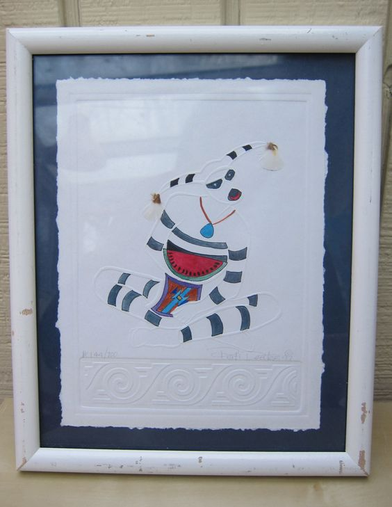 Signed and authenticated white Pati Deuter embossed painting from 1997- no 144/700- as it is by Framarines on Etsy