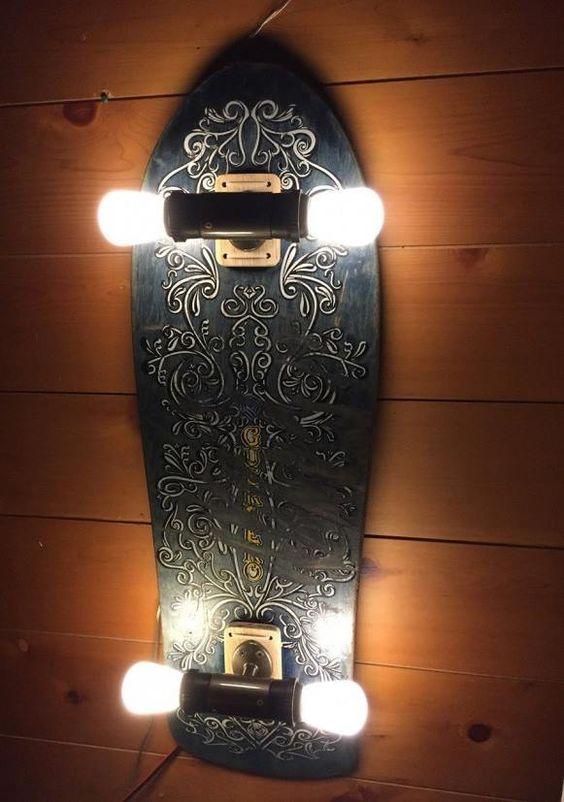 O Lado de Cá: Decoração - Skate de luz: