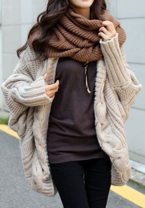 Beige Plain Cable Print Dolman Sleeve Cardigan Sweater - Cardigans - Sweaters - Tops:
