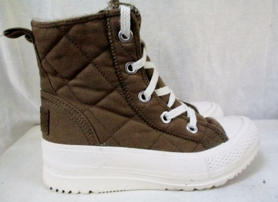 EUC Womens CONVERSE ALL STAR Quilted Hi-Top Sneaker Trainer Athletic Shoe Boot MOSS GREEN 6