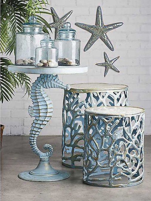 Coastal Nautical Accent Side End Tables Beach House Decor