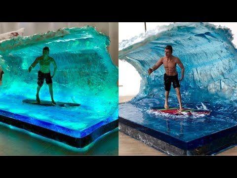 Big Wave Surfer Diorama Wellen Surfer Epoxidharz Led Lampe Youtube Led Lamp Diy Big Waves Surfer