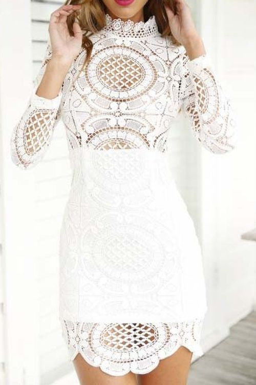 White Lace Long Sleeve Dress: