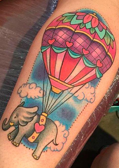 Tatuaje De Globo Aerostático Circus Tatuaje De Globo Tatuaje Globo Aerostatico Vuelos En Globo