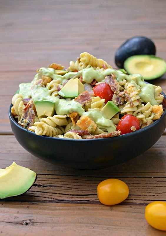Avocado Bacon Pasta Salad.  Need I say more?  | blog.hostthetoast.com