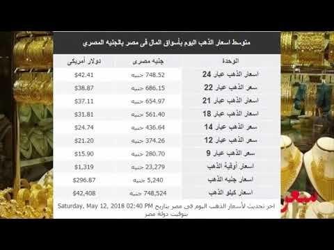 سعر الذهب اليوم فى مصر السبت 12 5 2018 Youtube