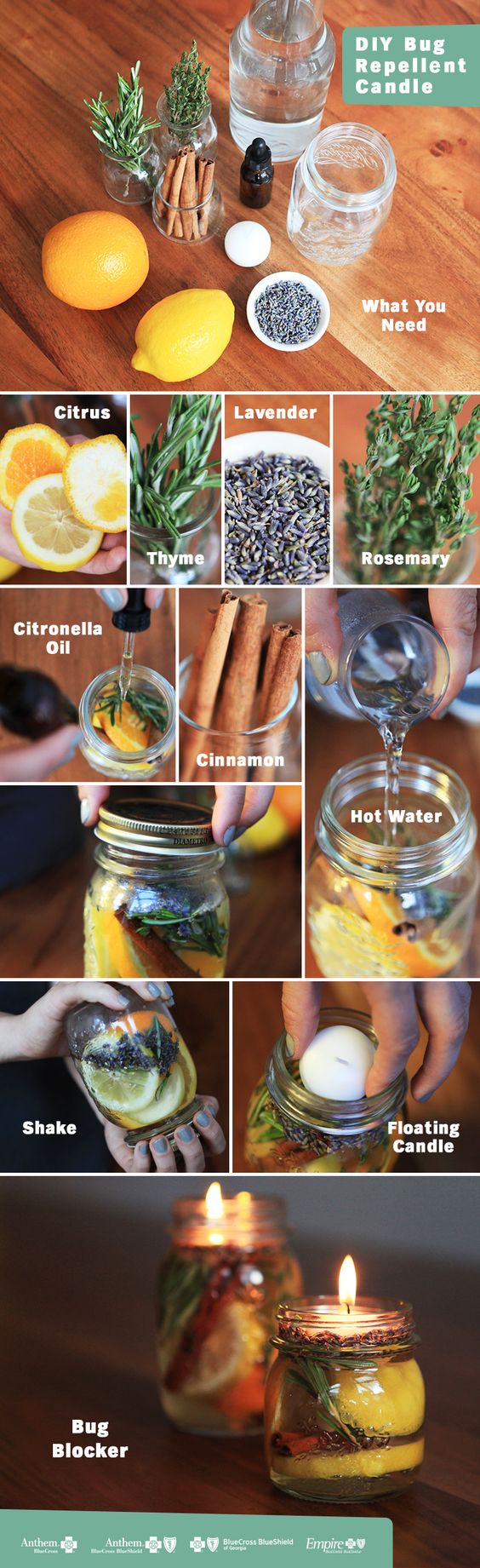 This is one sweet smelling, bug repelling candle! Make your own in a few easy steps. Fill a mason jar with citrus rinds and herbs. Add 20 to 30 drops of citronella oil. Top with hot water to help develop the scent. Float a candle at the top of the jar and light. Sit back and enjoy a bug-free night on the patio!: