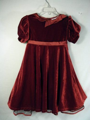Girls 4T Bonnie Jean Burgandy Christmas Holiday dress velour nice