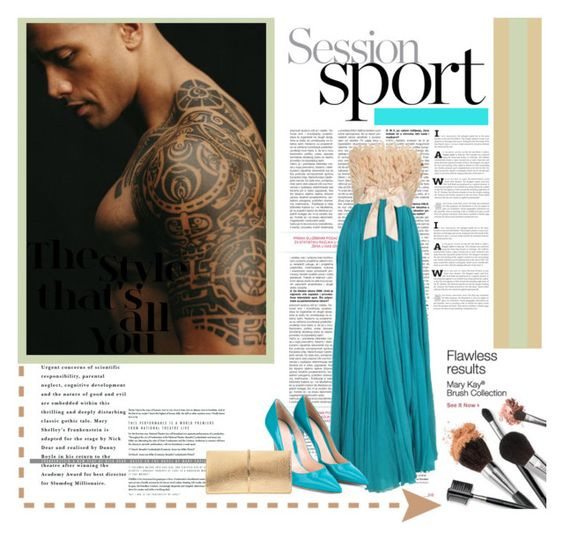 """""""Celebrity Crush: Dwayne """"The Rock"""" Johnson"""" by you-were-infinite ❤ liked on Polyvore featuring Gianvito Rossi, Nina Ricci, gown, Actor and crush"""