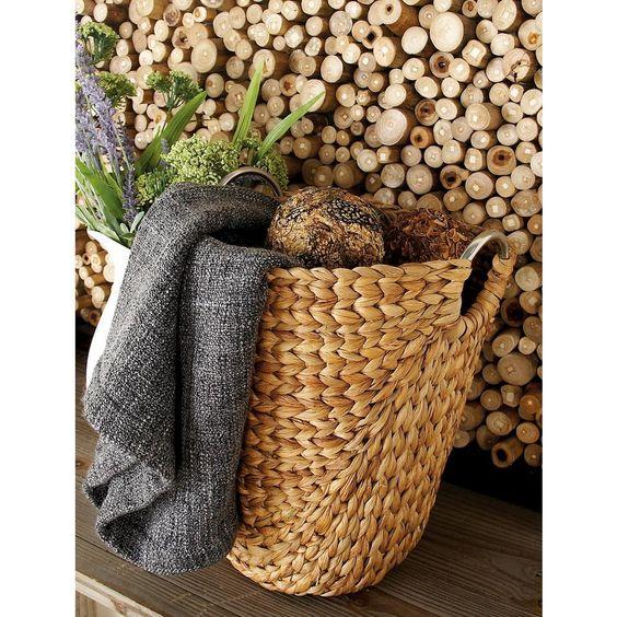 Litton Lane 16 in. x 19 in. Traditional White Teak Aluminum Foot Stool Basket, Brown