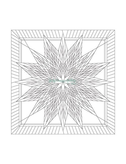 Feathered Star Line Drawing, Quiltworx.com, Made by Quiltworx.com