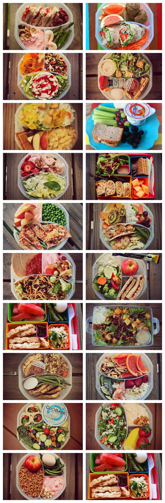 Healthy Lunch Ideas. This blogger posts a picture of her lunch every day - tons of super healthy, balanced, and colorful ideas!